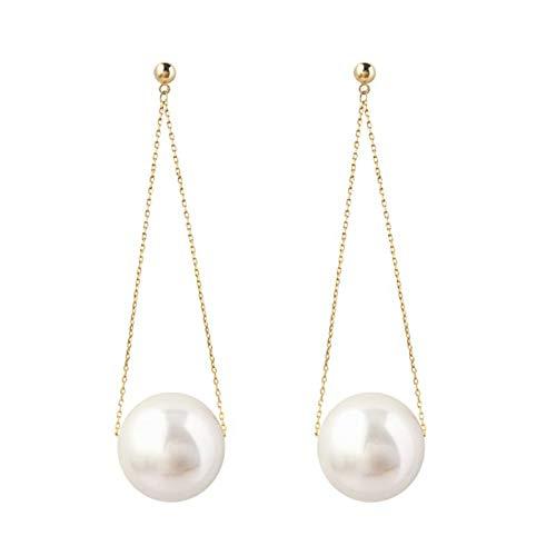 FGFDHJ Simulación de Perlas Pendientes Largos de Gota Cadena Femenina Borla Pendiente Colgante de Perlas Grandes Redondas Boda