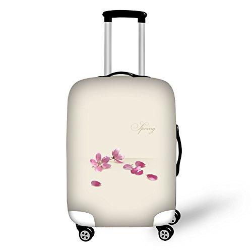 Custodia protettiva copri valigia da viaggio, CAIWEI Custodia protettiva valigia rosa per fiori 18'-30' (Bianco sporco 1, M (22'-26' cover))