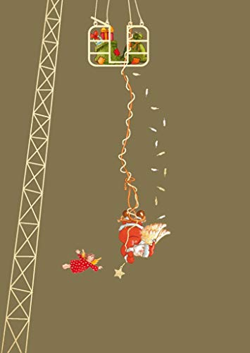Cityproducts - 4266 - Postkarte, Weihnachten, Bungee-Jumping - Weihnachtsmann und Engel, DIN A 6, 10,5cm x 13cm