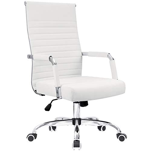 KaiMeng Ribbed Office Chair Mid Back Desk Chair Adjustable Conference Chair Swivel Task Chair Executive Chair (White)