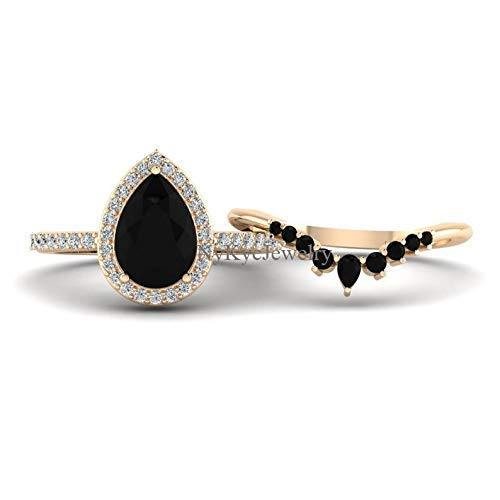 Pear Shaped Black Onyx Engagement Ring Rose Gold Halo Unique Black Stone Engagement Ring Set For Women Wedding Bridal Promise Ring For Her