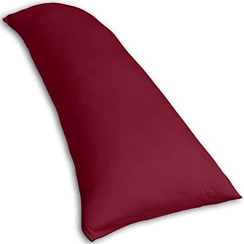 Traumreiter Visco Dream Seitenschläferkissen mit extra Schon-Bezug I Körperkissen I Seitenkissen (Bordeaux-rot, 140 x 40 cm (Slim))