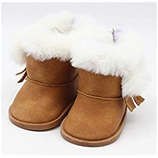 18 Inch Doll Mini Shoes, American Girl Doll Plush Snow Boots Doll Accessories(White) (Color  Brown, Size  7x3.6cm)