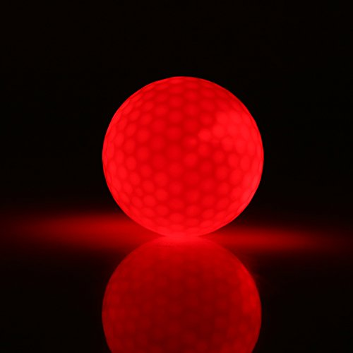 LED-Golfball, Elektronische LED Golfball Farbe Blinkende Nachtgolfball Beleuchtung Golfball für Dunkle Nachtsport Übungs Ausbildung(Rot)