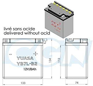 Battery parts unlimited 12v 135 mm x 75 mm x 133 .. YUAM2273B Yuasa Y12N73B