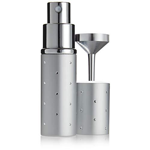 Fantasia Taschenzerstäuber 10ml, nachfüllbar inkl. Trichter, Parfum Zerstäuber Geschenkset für zuhause und unterwegs, Silber 9cm