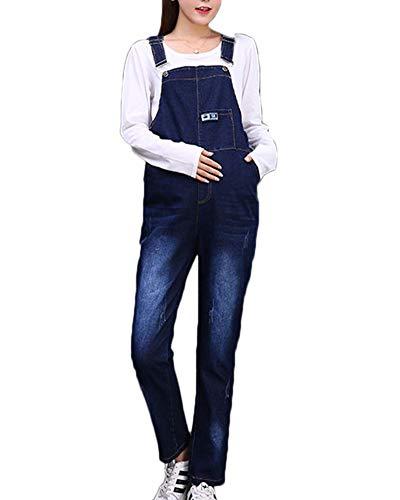 Shaoyao Umstands,Latzhose - Darkwash Denim LatzJeans Umstandsmode Blau XL