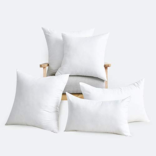 Linen Empire Cushion Inner Pads (Pack of 5) - Cushion Stuffer 16' x 16' (40 x 40 cm) - Hypoallergenic Bounce Back - Polyester, Hollowfibre Square Pillow Inserts (Set of 5, White)