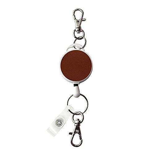 伸縮自在の吊り下げ名札用 リール フック付き/ブラウン パスケースや名札、ストラップ、鍵等と一緒に