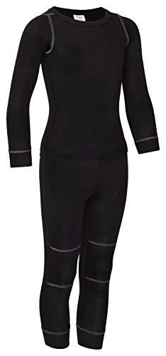 icefeld® - atmungsaktives Thermo-Unterwäsche Set für Kinder - warme Wäsche aus langärmligem Oberteil + Langer Unterhose (ÖkoTex100) in blau oder pink (158/164, schwarz)
