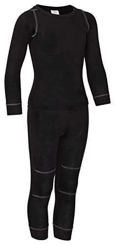 icefeld® - atmungsaktives Thermo-Unterwäsche Set für Kinder - warme Wäsche aus langärmligem Oberteil + Langer Unterhose (ÖkoTex100) (110/116, schwarz)