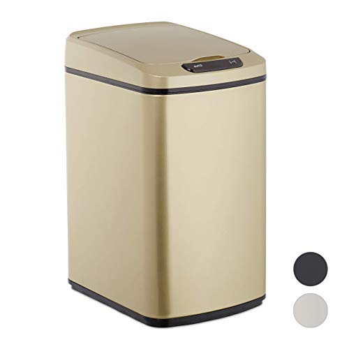 Relaxdays Sensor Mülleimer 12l, eckiger Abfalleimer mit Deckel & Inneneimer, Küche & Bad, Automatik Mülleimer, gold