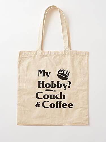 Générique Sofa Hobby Funny Coffee Couch Sayings   Bolsas de lona con asas, de algodón duradero