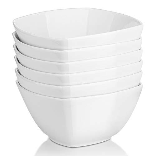 DOWAN Square Cereal Bowls Set of 6 - 27 Ounces Porcelain Soup Bowls, White Serving Bowl for Salad Pasta Dessert Snack, Chip Resistant, Dishwasher & Microwave Safe