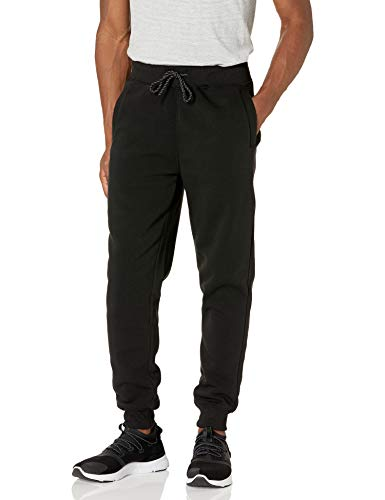 WT02 Men's Basic Jogger Fleece Pants, Black, Small