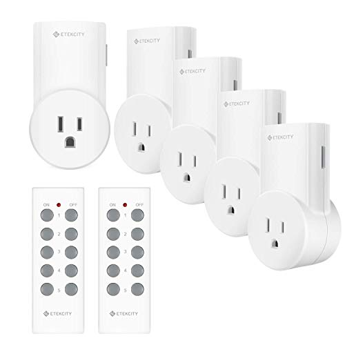Etekcity Wireless Remote Control Outlet Light Switch for Lights, Lamps, ChristmasDecorations, Plug and Go, Up to 100 ft. Range, FCC, ETL Listed, White (Learning Code, 5Rx-2Tx)