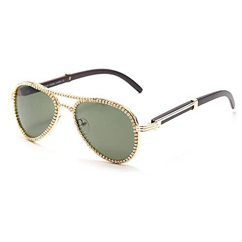 ShSnnwrl Único Gafas de Sol Sunglasses Gafas De Sol De Piloto De Diamante para Mujer, Gafas De Sol con Montura Grande Retro De Di