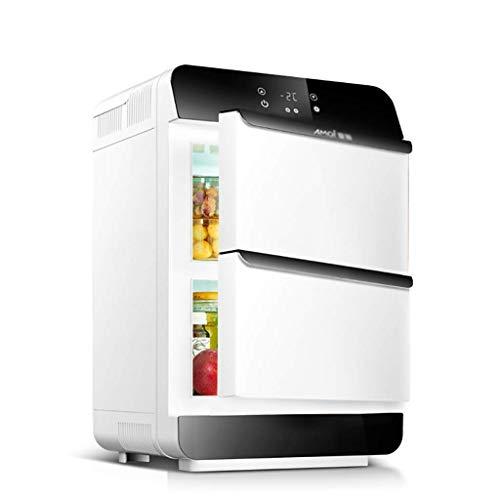 Frigorifero per auto, 28 l, mini frigo dual-core, doppia porta di refrigerazione auto doppio uso caldo e freddo doppio uso 220V AC / 12V DC (colore: bianco) Arancione