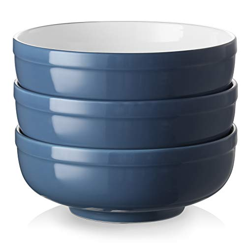 DOWAN Soup Bowls for Kitchen, 32 Ounces Salad Bowls with Non-slip Design, Porcelain Cereal Bowls Set for Party Soup Salad Ramen Pho Pasta, Sturdy and Easy to Hold, Set of 3, Haza Blue
