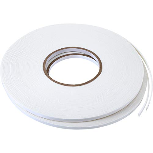 2 Rolls Double Sided Foam Tape White PE Foam Tape Sponge Soft Mounting Adhesive Tape (1/4 inch by 50 Feet)