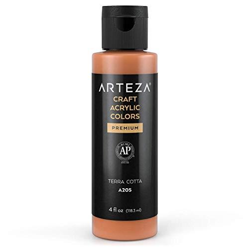Arteza Craft Acrylic Paint, A205 Terra Cotta, 4fl oz (118 ml) Bottle, Water-Based, Blendable, Matte Acrylic Paint for Art & DIY Projects on Glass, Wood, Ceramics, Fabrics, Paper & Canvas