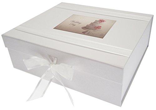 White Cotton Cards.Caja de Recuerdo de Boda «Vintage Cake», Madera, Blanca, Grande