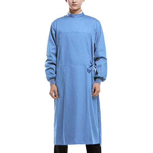 Freahap Reusable Surgical Gown Isolation Gown Reusable Doctor Workwear with Pockets Long Sleeves Elastic Cuffs Protective Workwear for Doctor Nurse Dentist Hospital Clinic Blue XL