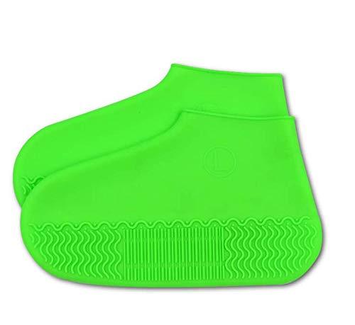 SE - Funda impermeable para botas y zapatos, resistente al agua y al agua y al agua para zapatos de goma de sílice con barro de nieve, versión más gruesa, a prueba de desgaste, antideslizante, plegable y reutilizable, color GREEM, tamaño large