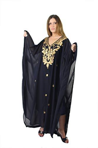 Egypt Bazar Egypt Bazar Abaya Festkleid aus Chiffon, Einheitsgröße: M bis XXXL (Dunkelblau/Gold)