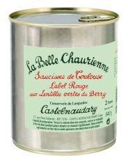 Saucisses de Toulouse aux Lentilles vertes du Berry, Label Rouge, Toulouser Würstchen mit grünen du Berry Linsen, französischer Linseneintopf, La Belle Chaurienne, 840g