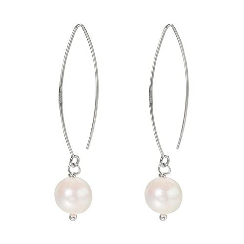 Orecchini Orecchini pendenti con perle rotonde d'acqua dolce naturali Orecchini in argento sterling 925 con gancio per gioielli da donna, accessori fatti a mano