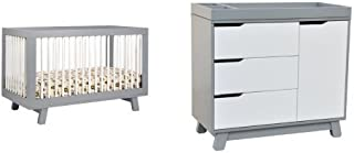 babyletto Hudson 3-in-1 Convertible Crib with Toddler Rail, Grey/White and Hudson Changer Dresser, Grey/White