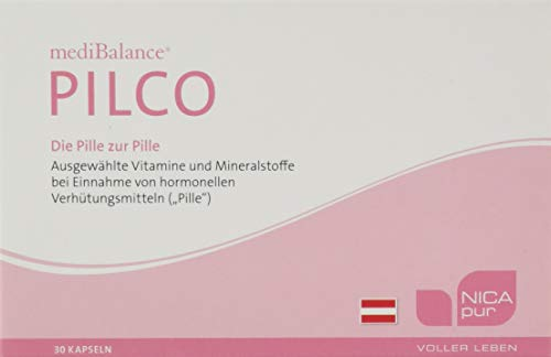 """NICApur mediBalance Pilco I Gleichgewicht bei der Einnahme der """"Pille"""" I mit den Vitaminen C, B6, B2, B12, Folsäure sowie Magnesium und Zink I Reinsubstanz ohne Zusatzstoffe I 30 Kapseln"""