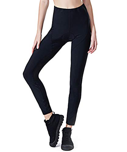 SILIK Women's Padded Cycling Trousers Leggings Ladies Long Mountain Bicycle Pockets Tights Black S