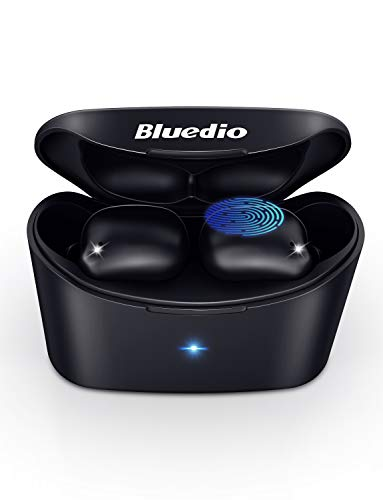 True Wireless Earbuds,Bluedio Bluetooth 5.0 Earphones in-Ear with Charging Case Easy-Pairing Built-in Microphones Wireless Headset for Sport Black