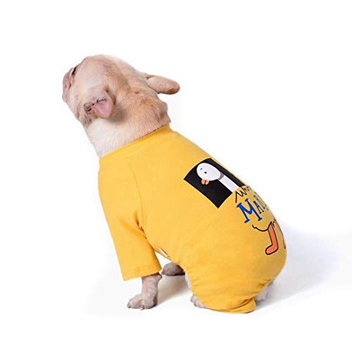 Haustierkleidung für Hunde, Vierbeiner, Baumwoll-Pyjama, Freizeithemd für Französische Bulldogge, Welpen, kleine, mittelgroße Hunde (M, gelb)