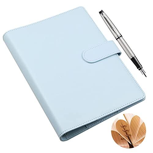 Carpeta de Cuaderno A6 Carpeta de Anillas A6 Cuaderno de cuero PU A6 Carpeta de Cuaderno Recargable Contiene 80 Hojas de Papel Grabable Con Tarjetero y Cierre Magnético (Azul)