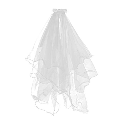 SOLUSTRE Velo de Novia Simple para Mujer con Peine Velo de Novia Tiara de Cristal de Las Muchachas de La Flor con El Velo de Múltiples Niveles Velo de Vestir para El Festival Accesorios