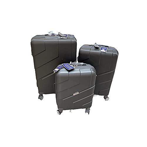 Coveri Collection 80102 - Juego de 3 maletas rígidas de ABS con 4 ruedas, color gris Biosa