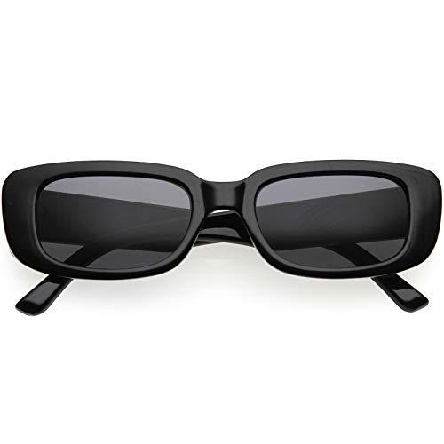 zeroUV – Óculos de sol quadrados, retângulo, vintage D179, Black / Smoke, One-Size
