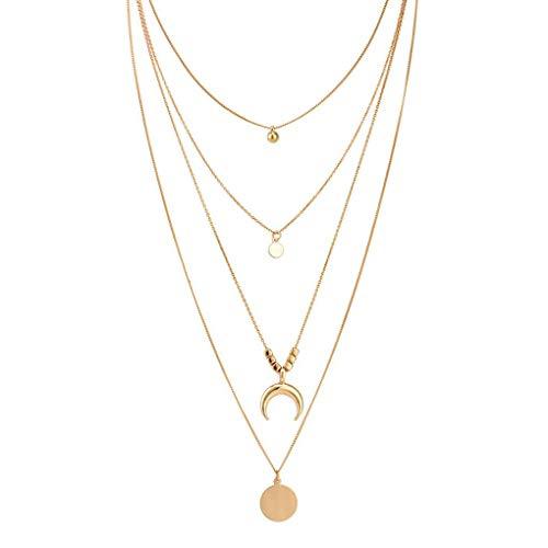 Kakiyi Retro Donna Oro Layered collane Personalizzata Simple Girl di Stile a Lunga Catena dei Bohemien Ciondolo Geometrica Girocollo Set (Gold) (Gold)