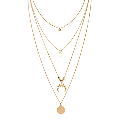 Kakiyi Retro Donna Oro Layered collane Personalizzata Simple Girl di Stile a Lunga Catena dei Bohemien Ciondolo Geometrica Girocollo Set (Gold) (Gold)