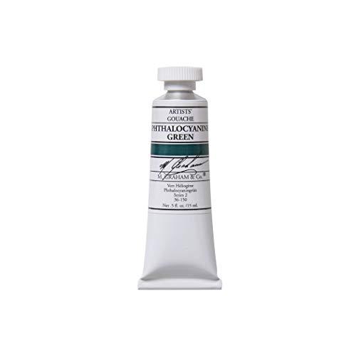 M. Graham 1/2-Ounce Tube Gouache Paint, Phthalocyanine Green