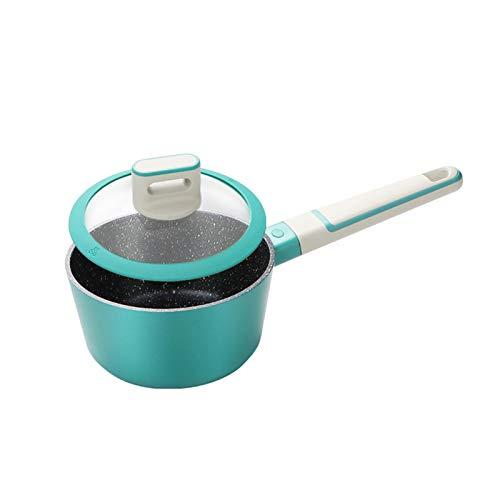 Cazo con mango de 16 cm, antiadherente, con tapa, 1,4 L, tapa de cristal, adecuado para cocinas de inducción, eléctricas, de gas, de cerámica, halógenas