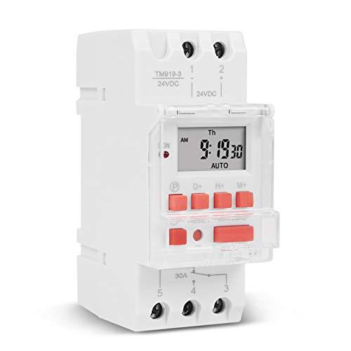 gfjfghfjfh TM919B Interruptor de Tiempo Digital programable semanal electrónico Control de Temporizador de relé AC 110V 220V 24V 12V 5V 16A Montaje en riel DIN - Blanco