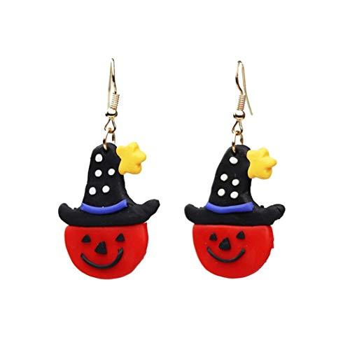 Suministros de Halloween, bonito sombrero de calabaza fantasma colgante gota fiesta de Halloween pendientes de gancho joyas regalo