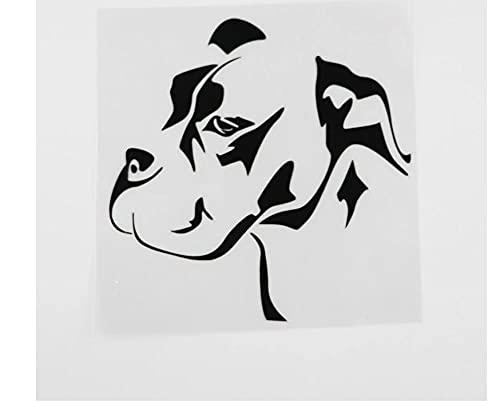 MDGCYDR Adesivo per Auto Cane 13.2Cmx13.2Cm Impermeabile Bulldog Cane Animali Animali Domestici Vinile Adesivo per Auto Nero/Argento