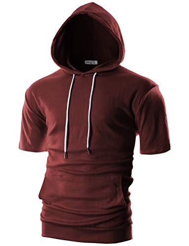 OHOO Mens Slim Fit Short Sleeve Lightweight Hoodie with Kanga Pocket/DCF013-BURGUNDY-M