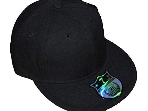 Ethos Casquette Noir Uni, Plat, Chapeau Baseball Hip Hop Urban Designer - Noir, 6 7/8 (54.9cm) S