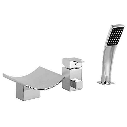 HAUSELIEBE Zeitgenössisch Badewannenarmatur mit Handbrause Platz Einzelgriff Wannenarmatur Deck Montiert Badewanne Armatur für Badezimmer,Without led
